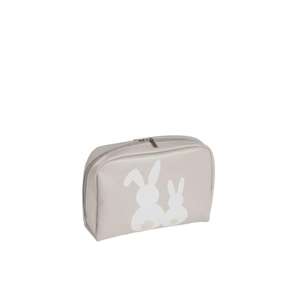 Trousse de toilette pu gris beige small