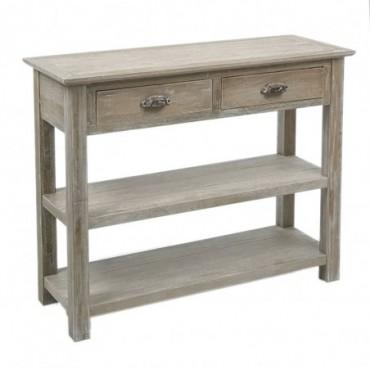 Console 2 tiroirs bois grey w