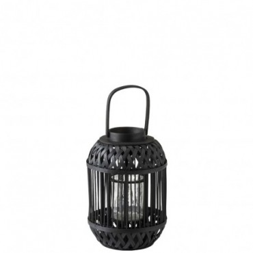 Lanterne Cylindrique Bambou Noir Small