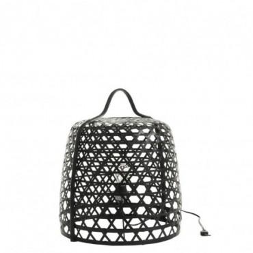 Lampe basse ronde bambou noir