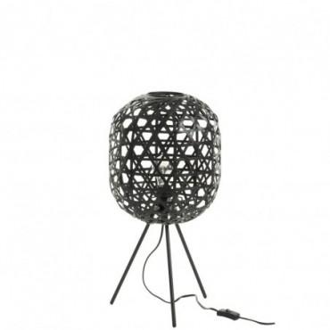 Lampe de bureau trepied rond bambou metal noir