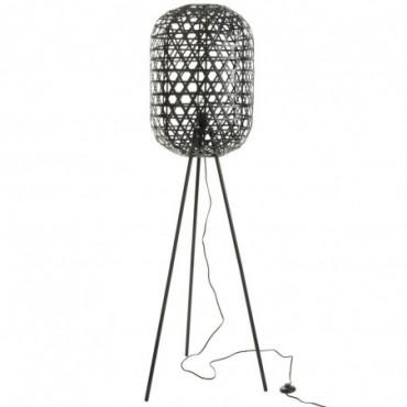Lampe trepied ronde bambou metal noir