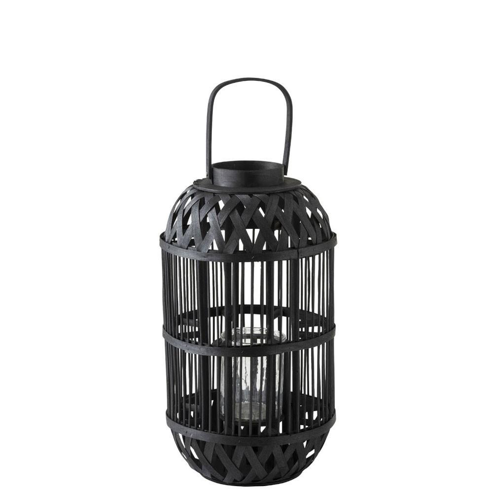 Lanterne Cylindrique Bambou Noir Large