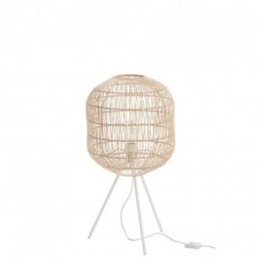 Lampe trepied ronde papier metal naturel blanc