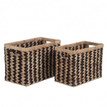 Set de 2 paniers rotin naturel noir