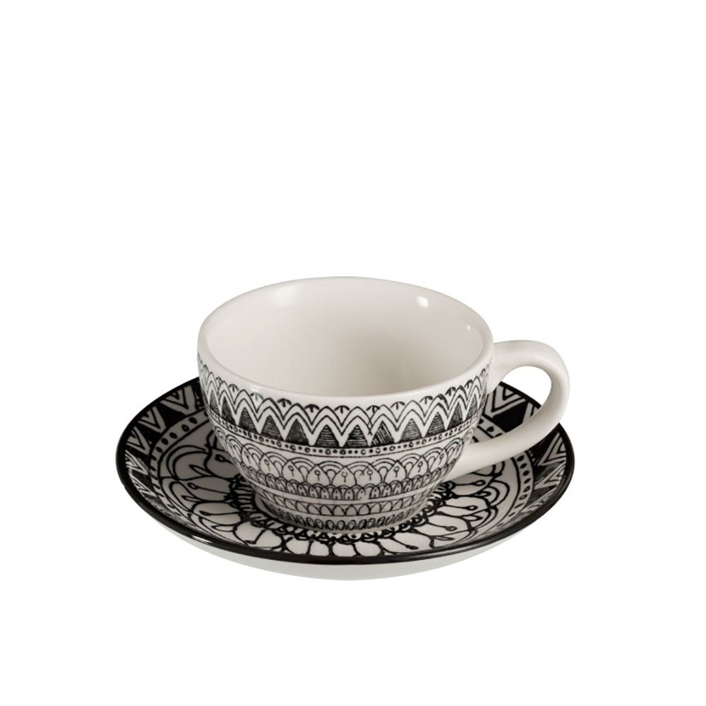 Tasse a cafe sous-tasse monochrome boho ceramique noir blanc