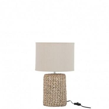Pied de lampe abat-jour tresse epaisse beton coton naturel small