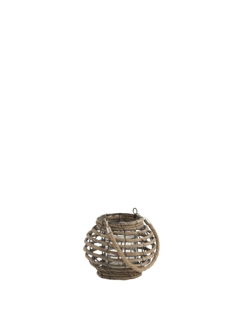 Lanterne Boule Lignes Horizontales Feuilles De Bananier Naturel Small