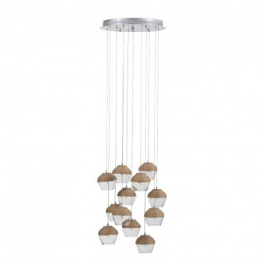 Lampe suspendue 10 parties verre corde transparent naturel
