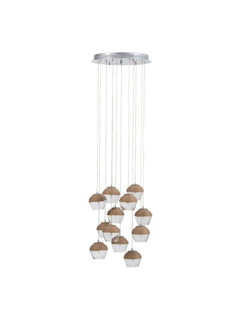 Lampe suspendue 10 parties verre corde transparent naturel