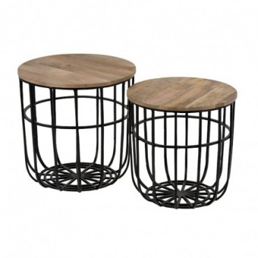 Set de 2 tables gigognes paniers metal noir bois naturel