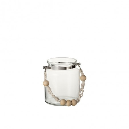 Lanterne Anse Perles Verre/Corde Transparent Small