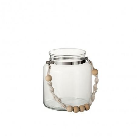 Lanterne Anse Perles Verre/Corde Transparent Large