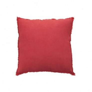 Coussin delave lin rouge