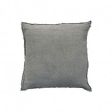 Coussin delave lin bleu gris