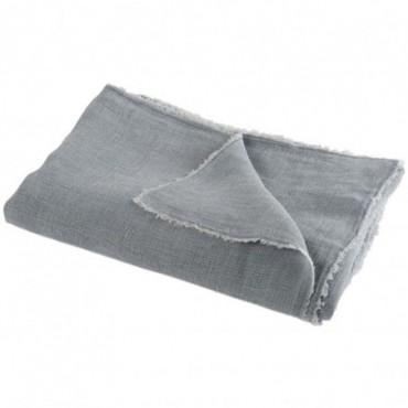 Plaid delave lin bleu gris