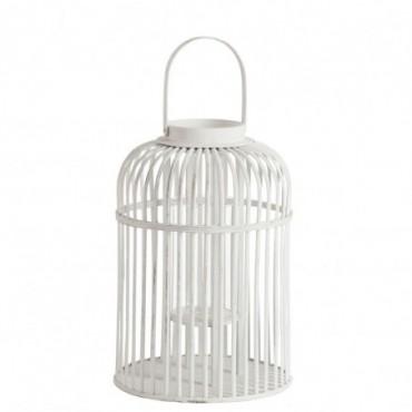 Lanterne barres ronde anse bambou verre blanc large