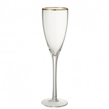 Verre a champagne or bord verre transparent or