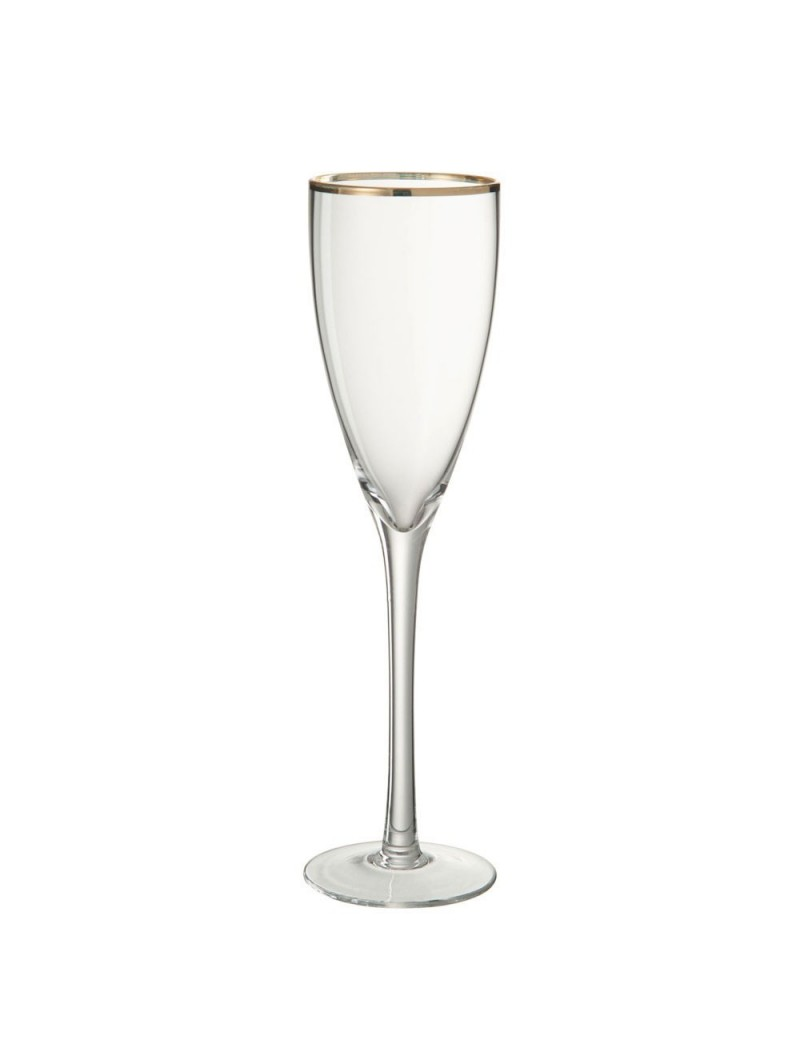 Verre a champagne or bord verre transparent or