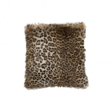Coussin imitation fourrure leopard noir marron
