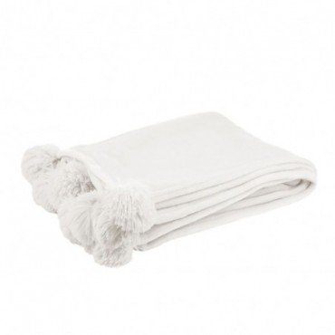 Plaid pompon polyester blanc