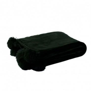 Plaid pompon polyester noir