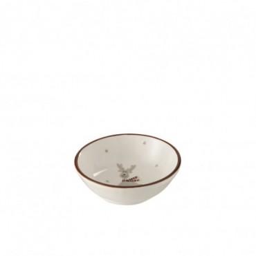 Bol 1 renne ceramique blanc marron small
