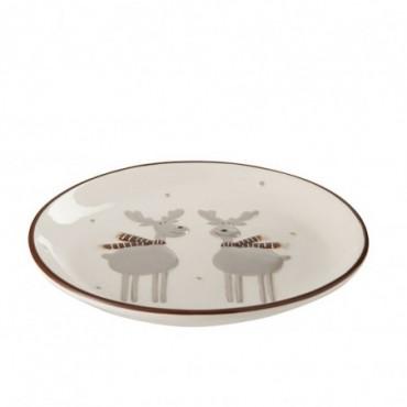 Assiette 2 renne ceramique blanc marron medium