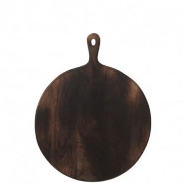 Planche a decouper rond bois marron fonce large