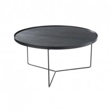Table gigogne ronde bois metal marron fonce large