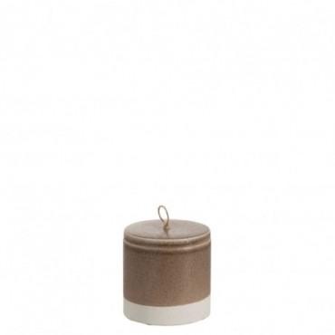 Pot couvercle decoratif bord ceramique marron