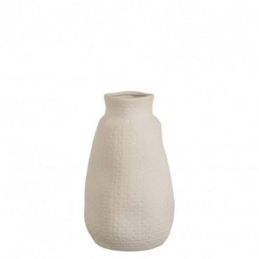 Vase ibiza lignes ceramique blanc large