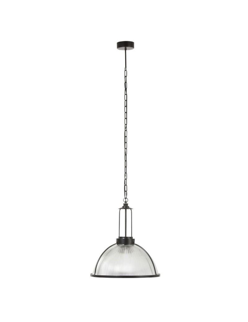 Lampe Suspendue Ronde Verre/Metal Noir
