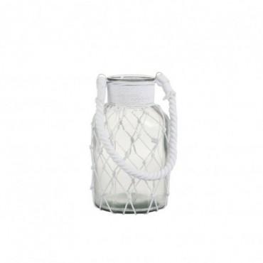 Lanterne filet verre corde transparent blanc large