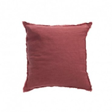 Coussin delave lin rouge framboise