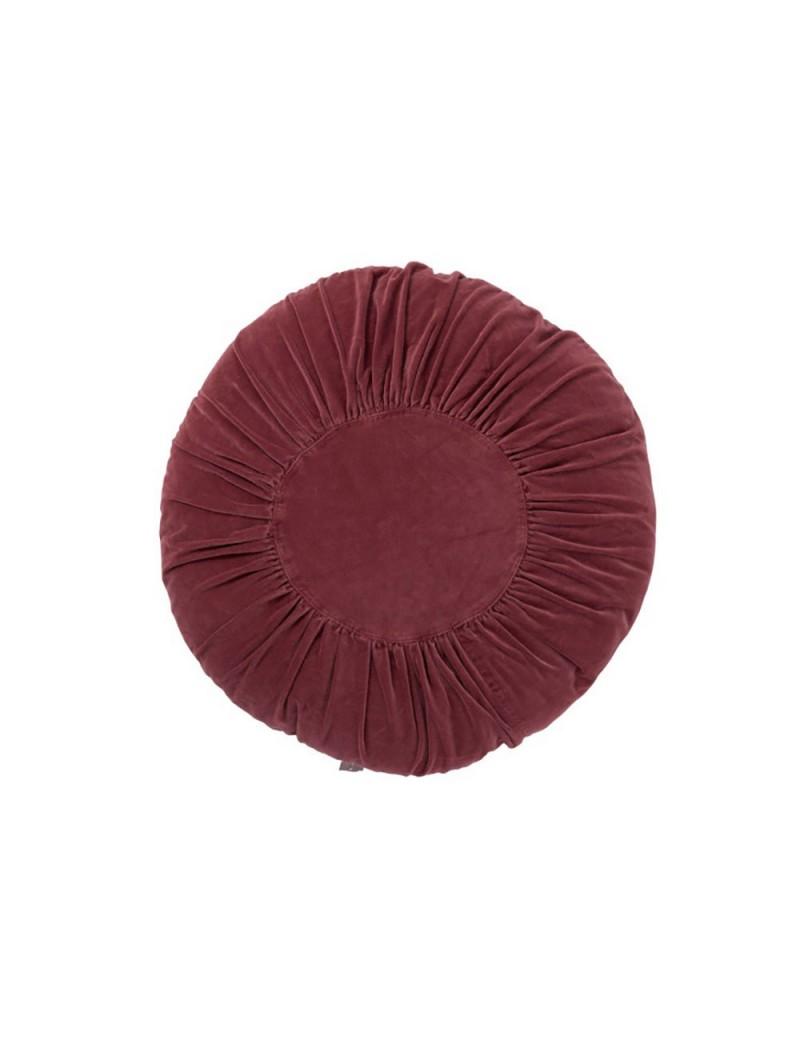 Coussin rond coton bordeaux large