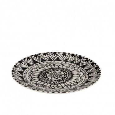 Assiette monochrome boho ceramique noir blanc small