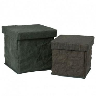 Set de 2 boites carree textile vert