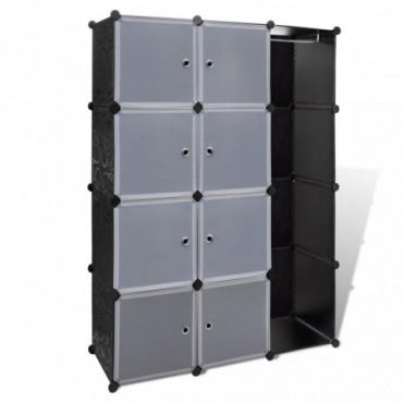 Armoire Modulaire Noir Et Blanche Avec 9 Compartiments Hauteur 150 Cm