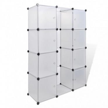 Armoire Modulaire Blanche Avec 9 Compartiments Hauteur 150 Cm