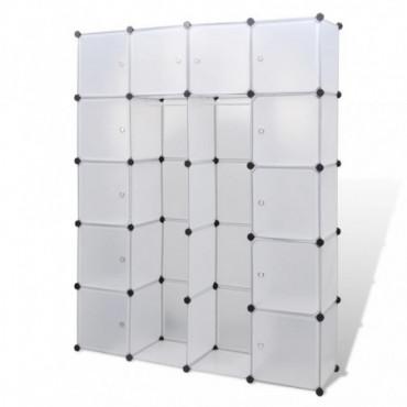 Armoire Modulable Blanche Avec 14 Compartiments Hauteur 180,5 Cm