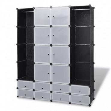 Armoire Modulable Noir Et Blanche Avec 18 Compartiments Hauteur...