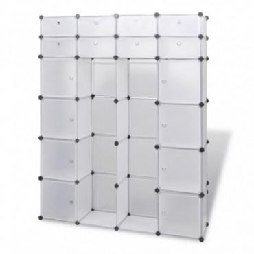 Armoire Modulable Blanche Avec 18 Compartiments Hauteur 180,5 Cm