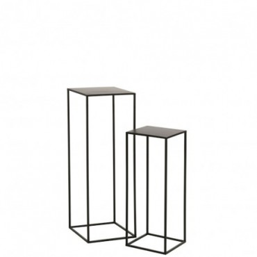 Set de 2 tables gigognes carree metal noir
