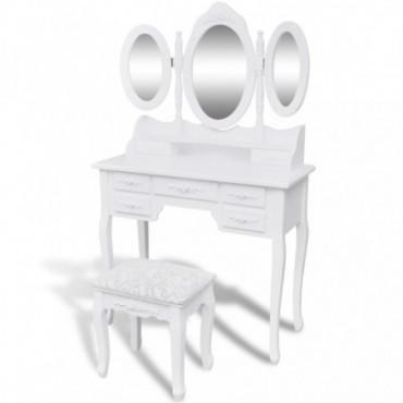 Coiffeuse Blanche Avec 3 Miroirs Et Tabouret Pieds Baroques