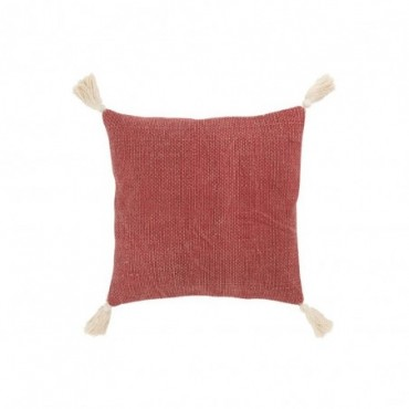 Coussin floches coton rouge blanc