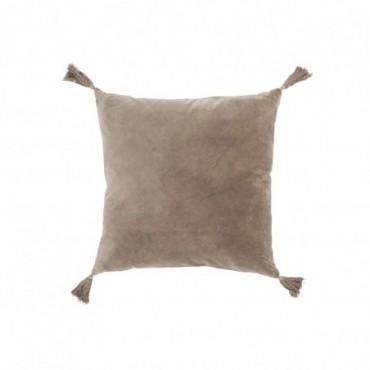 Coussin floches coton velours marron