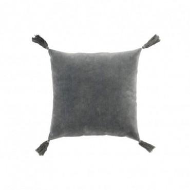 Coussin floches coton gris
