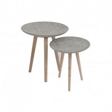 Set de 2 tables gigognes lignes ciment gris
