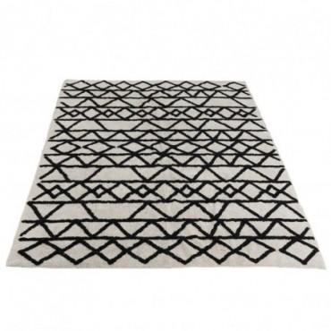 Tapis motifs rectangulaire coton noir blanc